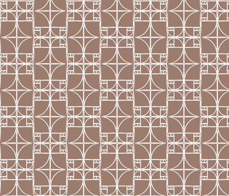 Dk. Taupe Fibonacci Spiral fabric by pantsmonkey on Spoonflower - custom fabric