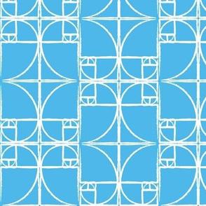 Deep Sky Blue Fibonacci Spiral