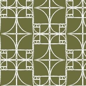 Olive Green Fibonacci Spiral