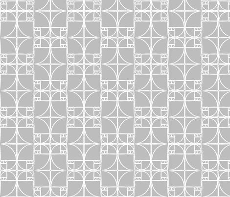 Pale Gray Fibonacci Spiral fabric by pantsmonkey on Spoonflower - custom fabric