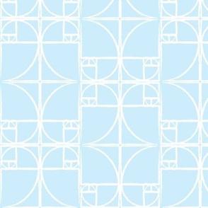 Palest Blue Fibonacci Spiral