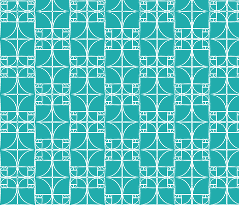 Teal Fibonacci Spiral fabric by pantsmonkey on Spoonflower - custom fabric