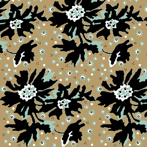kahki floral-ed fabric by paragonstudios on Spoonflower - custom fabric