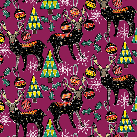 festive deer purple small fabric by scrummy on Spoonflower - custom fabric
