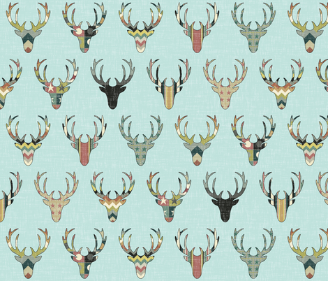 vintage deer head aqua fabric by scrummy on Spoonflower - custom fabric