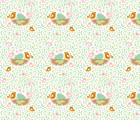 Baby Woods_Birds and leaves fabric by dzynchik on Spoonflower - custom fabric