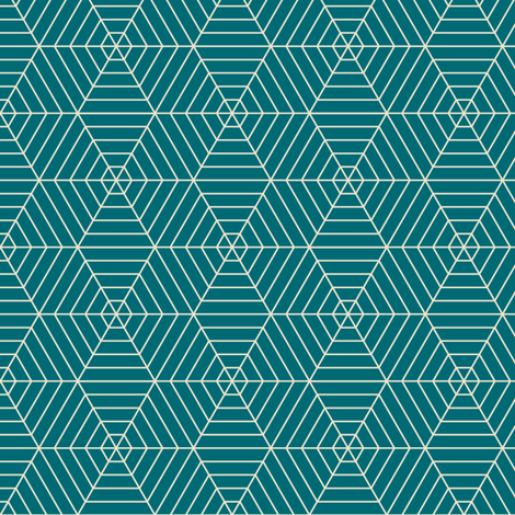 Hexagon Webs in Teal fabric by sophiebenoit on Spoonflower - custom fabric