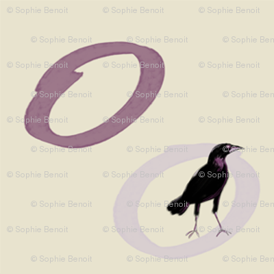Crow in Circles in Purple