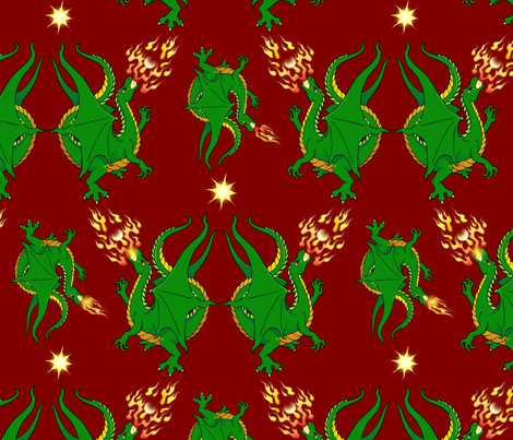 Fire breathing dragons fabric by hannafate on Spoonflower - custom fabric