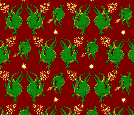 Fire breathing dragons II fabric by hannafate on Spoonflower - custom fabric