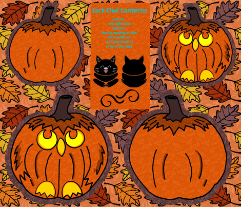 Jack Owl Lanterns Plushie Pair fabric by kdl on Spoonflower - custom fabric