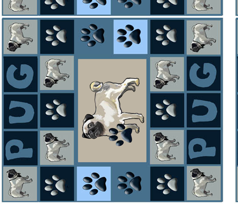 Pug Wall Hanging fabric by dogdaze_ on Spoonflower - custom fabric
