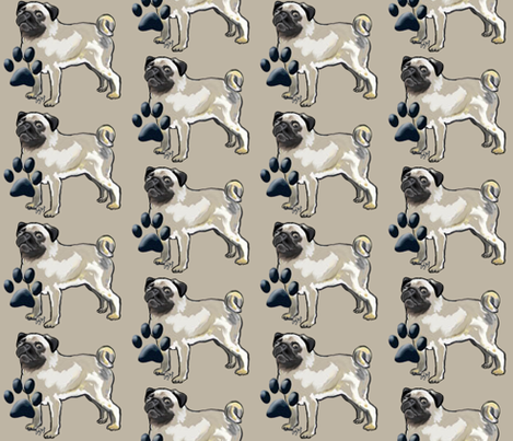 Pugs and Pawprints fabric by dogdaze_ on Spoonflower - custom fabric