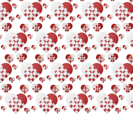 Danish Christmas Hearts - Small fabric by upcyclepatch on Spoonflower - custom fabric