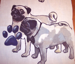 Two pugs dog fabric