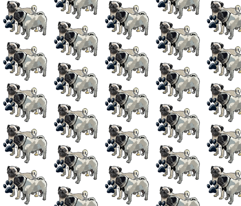 Two pugs dog fabric fabric by dogdaze_ on Spoonflower - custom fabric