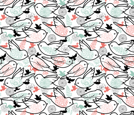 Bird Dance fabric by oksancia on Spoonflower - custom fabric