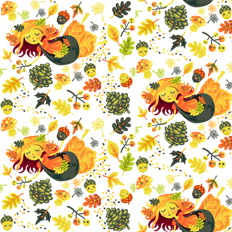 Autumn Fairy fabric by irrimiri on Spoonflower - custom fabric