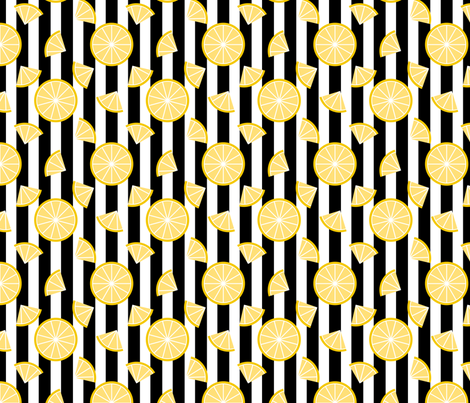 Lemons on Stripes fabric by siya on Spoonflower - custom fabric