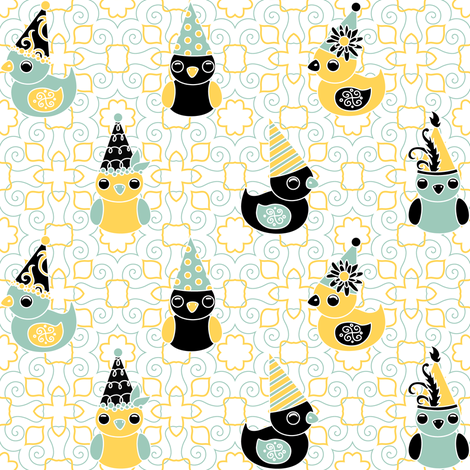 Party Birds fabric by jillianmorris on Spoonflower - custom fabric