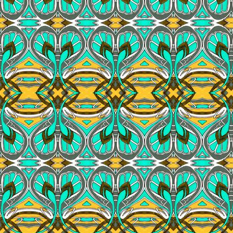 Crocus Spring (aqua/gold) fabric by edsel2084 on Spoonflower - custom fabric