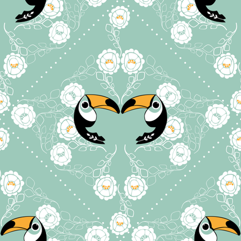 Tucan Love, White Lace on Blue fabric by ttoz on Spoonflower - custom fabric