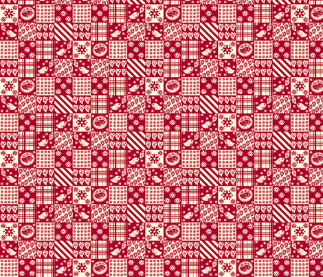 Red and White Birds Patchwork fabric by nanetteregan on Spoonflower - custom fabric