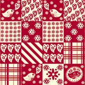 Red and White Birds Patchwork