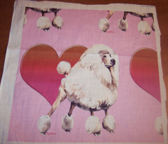 Apricot poodle and heart fabric