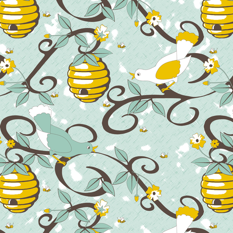All About the Birds and the Bees - SoFt Spoonflower blue fabric by inscribed_here on Spoonflower - custom fabric
