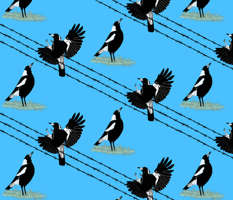 Magpies: learn to fly 2 with gray fabric by su_g on Spoonflower - custom fabric