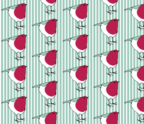 Little Robin on Stripes fabric by floating_lemons on Spoonflower - custom fabric