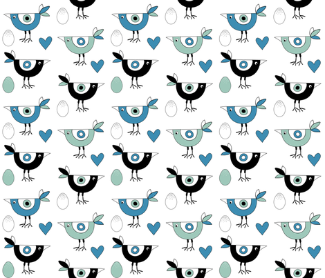 birds_hearts_eggs_blue fabric by peppermintpatty on Spoonflower - custom fabric
