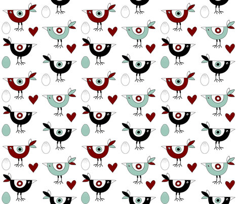 birds_hearts_eggs_red fabric by peppermintpatty on Spoonflower - custom fabric