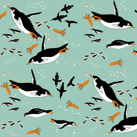 A Flock of Penguins fabric by eclectic_house on Spoonflower - custom fabric