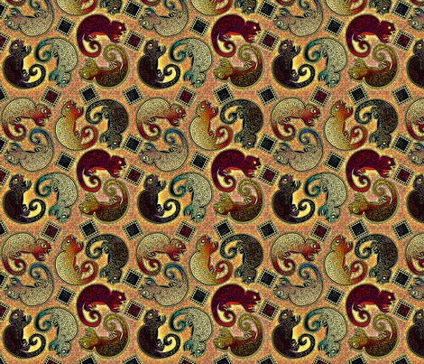 Chameleon Autumn Salsa fabric by glimmericks on Spoonflower - custom fabric