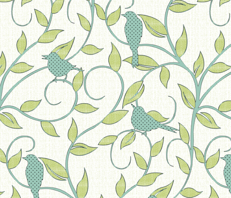 serene songbirds (zoom to see textural details!) fabric by littlerhodydesign on Spoonflower - custom fabric
