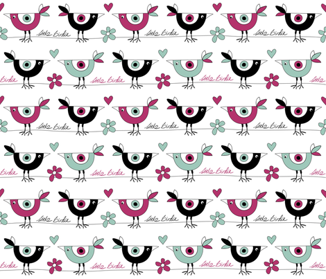 little_birdie_pink_zoom fabric by peppermintpatty on Spoonflower - custom fabric