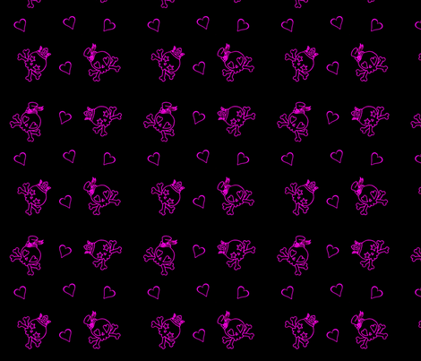 Cut Throat Cutie Skulls n Hearts Neon fabric by eerie_doll on Spoonflower - custom fabric