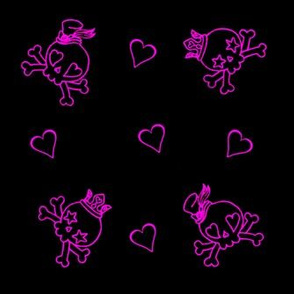 Cut Throat Cutie Skulls n Hearts Neon