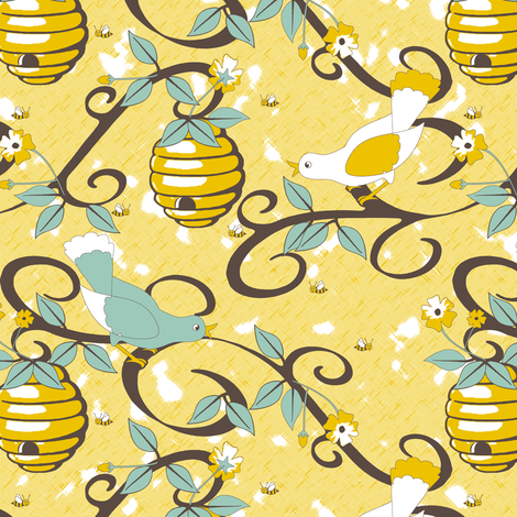All About the Birds and the Bees - SoFt Yellow fabric by inscribed_here on Spoonflower - custom fabric