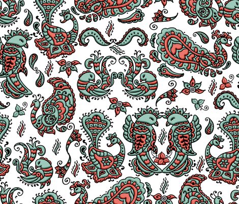 Mehndi_Spoonflower_Birdies fabric by jdiva on Spoonflower - custom fabric