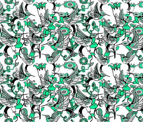 Hummingbird Heaven fabric by dogdaze_ on Spoonflower - custom fabric