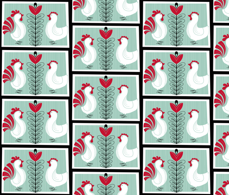Chickens in the Garden fabric by cpilgrim on Spoonflower - custom fabric