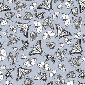 My Garden Toile Butterflies Ditsy Grey ©2011 by Jane Walker