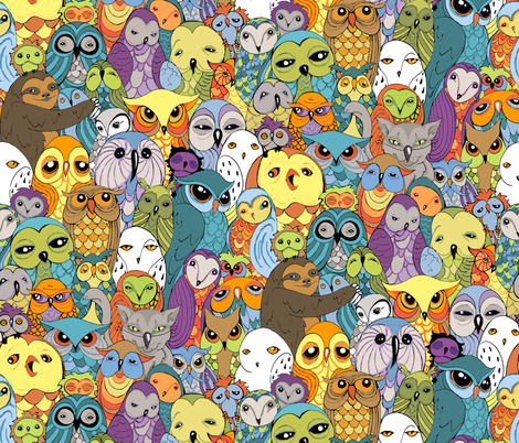 Owl in the Family fabric by ceanirminger on Spoonflower - custom fabric