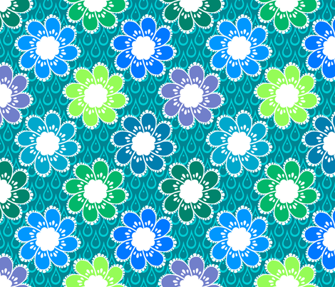 Rainy Day Flowers - Puddlepond fabric by siya on Spoonflower - custom fabric