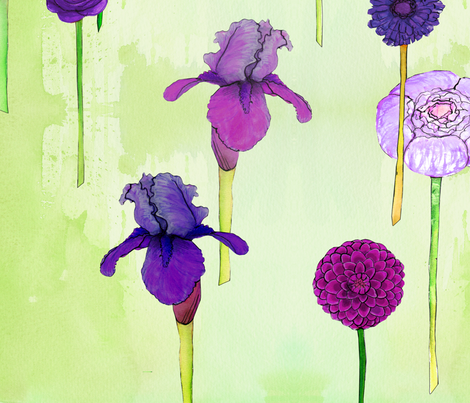 field of summer flowers - purple fabric by jeanne-design-illustration on Spoonflower - custom fabric
