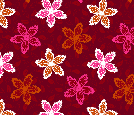 Tropical Flowers fabric by siya on Spoonflower - custom fabric