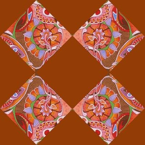 Art Nouveau blossums on diagonal checkerboard